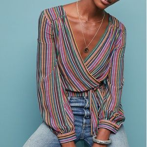 Anthropologie Maeve Lisa Rainbow Striped Blouse